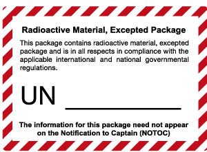 Radioactive material excepted package mark