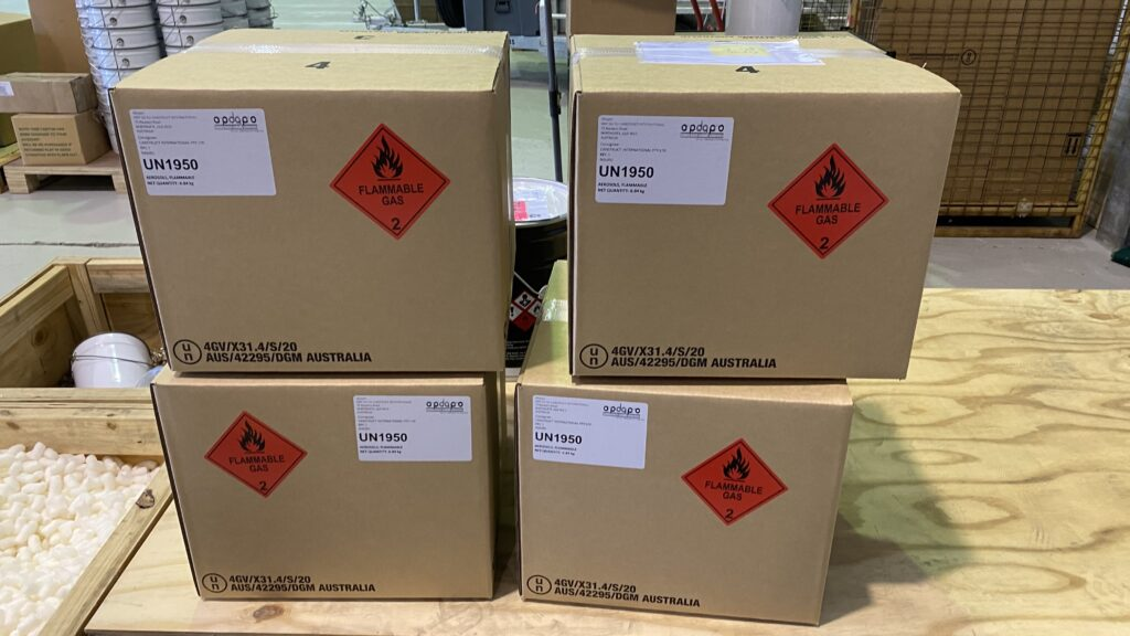 dangerous goods packing boxes and labels